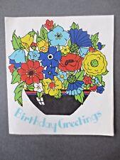Vintage Birthday Greetings Card Bowl Flowers Crinoline Lady 1940s Unused