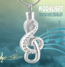 New Music Note Crystal Musical Cremation Urn Keepsake Ashes Memorial Necklace