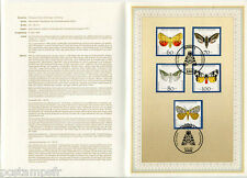 ALLEMAGNE FEDERALE, RFA, 1992, PAPILLONS, 5 timbres 1430/1434 DOCUMENT 1° JOUR