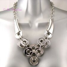 Retro Silver Abstract Chunky Contemporary Metal Coins Discs Feature Bib Necklace