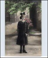 ~1910 Glückwunsch Segen KONFIRMATION Junges Mädchen teilcolorierte alte AK