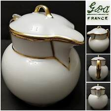 """Antique GDA Limoges Coffee Pot/Milk Pitcher with Gold Trim, 5.5"""" Tall, 4.5"""" Dia"""