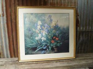Barbaud-Koch - 'Irises and Geraniums' Large Framed Print 1170 x 1080