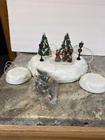 Lemax Christmas Cassette Music Player Village Platform  Ceramic Tree Figurines