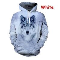 Man Hoodie Wolf Head 3D Digital Full Printed Casual  Hooded Sweatshirt Coat