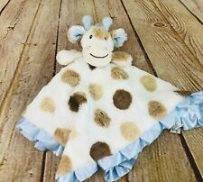 maison chic cow security blanket lovey blue mint