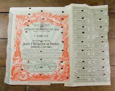 VILLE DE PARIS Emprunt Municipal de 1892 Obligation au Porteur Titre Action