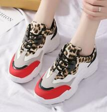 Womens Multi-colors Leopard Sneakers Med Wedge Platform Creepers Trainers A779