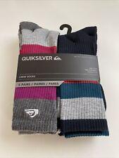 New Quiksilver Designer Mens Surfer Logo Street 5 Pack Crew Cut Socks Mixed