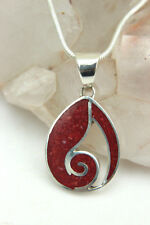 Small Red CORAL Teardrop Scroll Detail Set in 925 Silver PENDANT Necklace