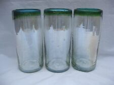 """Hand Blown Mexican Glass Tumblers Green Turquoise Rim  7"""" Height Set of 3"""