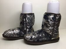 WOMENS UGG AUSTRALIA WINTER SEQUIN BLUE BOOTS SIZE 8