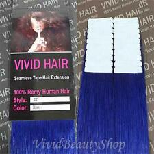 20pcs 22 inches Remy Seamless Tape Skin Weft 100% Human Hair Extensions Blue