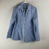 Womens XL Foxcroft Shirt Top Blouse Blue White Stripes Wrinkle Resistant LS