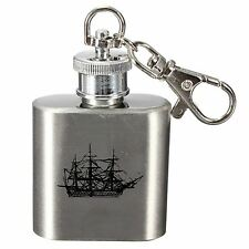 Laser Engraved 1oz Stainless Steel Hip Flask Key Ring With HMS Victory Design