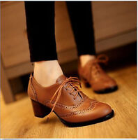Womens Brogue Chelsea Mid Block Heel Lace Up Wingtip Oxfords Shoes US Size 4-10