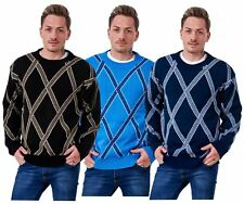 New Mens Knitted Jumper Cross Knit Pullover Casual Warm Sweater Top M to 5XL