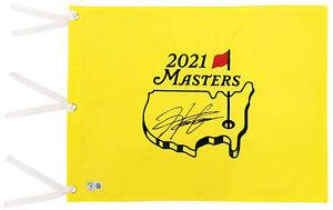 HIDEKI MATSUYAMA AUTOGRAPHED YELLOW 2021 MASTERS PIN FLAG BECKETT BAS QR 197174