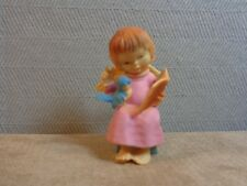Vintage Girl Child Angel Reading To Bird Ornament Hard Plastic Hong Kong (B506)