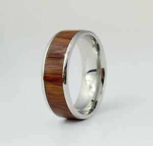 Men Enamel Wood Silver Band Titanium Stainless Steel Engagement Ring 8-12
