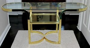 DIA DESIGN INSTITUTE OF AMERICA GOLD GLASS CONSOLE HOLLYWOOD REGENCY MCM TABLE