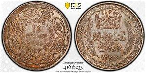 TUNISIA  , SILVER 10 FRANCS 1939 UNC -  PCGS MS 65 ( ST11 ) TOP POP , RARE