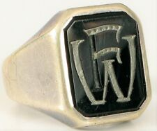 VINTAGE MEN'S BLACK ONYX INTIALS FW WF STERLING SILVER SIGNET RING SIZE 8.5 NICE