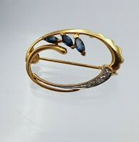 Vintage 9ct 9K Gold Oval Shaped Organic Design Brooch with Topaz & diamond
