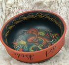 """Rosemaling Wood Bowl 8"""" Diameter Hand Painted Norway"""