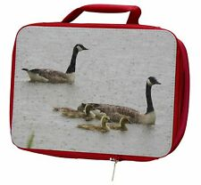 More details for geese+goslings in heavy rain insulated red school lunch box/picnic bag, ab-g5lbr