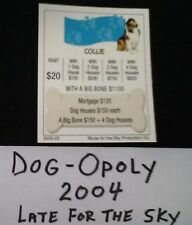 Dog Monopoly 2004 Collie Tile Deed Card Replacement Card Free Shipping