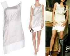 ROLAND MOURET Anser Silver & White Sheath Dress 2 XS $1764   French 36