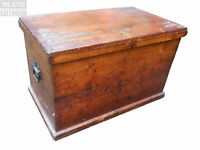 Charming Old Antique Solid Pine Storage Blanket Box, Trunk, Coffer, Coffee Table
