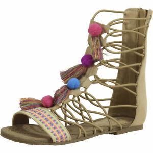 Mia Kids Little/Big Girl's Jordy Natural Nova Suede Gladiator Sandals Shoes