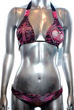 Affliction Swimwear Women's Bikini Dallas Pyramid Black Red New with Tags XS - S