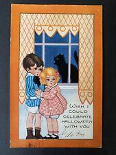 Whitney Halloween Postcard Boy & Girl Scared Black Cat in Window Embossed