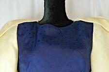 Carolina Herrera Women's Dress Size 8 Navy Polka Dot Ivory Sleeves A-Line Casual