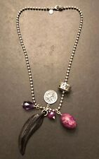"""CHAN LUU Sterling Silver 17"""" Necklace w/ 6 Diff Charms Amethyst Feather Ring Exc"""