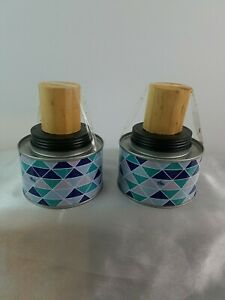 New Set of 2 Metal Patio Tabletop Tiki Torch Canisters Backyard Porch Home Decor