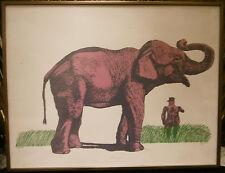 Serigraphie Originale ANTONIO SEGUI Argentin 1934 Elephant et Général 1973 G7