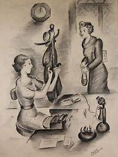 Listed ELIZABETH PIERCE Brooklyn New York NY Original Secretary Drawing