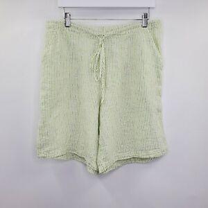Flax Green Striped Linen Beach Shorts Lagenlook S