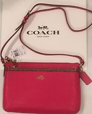 NWT COACH Pink Crossgrain Leather  EW / East West Pop Crossbody F57788 NEW