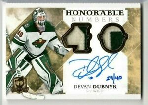 DEVAN DUBNYK 20117-18 Upper Deck The Cup HONORABLE NUMBERS AUTO PATCH #/40 Wild