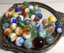 VINTAGE LOT OF 41 GLASS MARBLES MIXED COLORS NICE