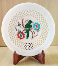 "7"" Marble Round Plate Turquoise Floral Parrot Inlay Filigree Art Home Decor"