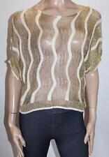 LUXX Designer Beige Gold Short Sleeve Knitted Top Size M/L BNWT #SG48