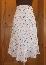 BODEN off-white pink purple blue floral broderie anglaise midi LINEN skirt 10 38