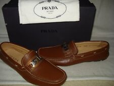 100% AUTHENTIC NEW MEN PRADA SAFFIANO BROWN LEATHER DRIVER/MOCCASINS UK 9/US 10