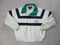 VINTAGE Nautica Jacket Adult Large White Blue Sailing Coat Spell Out Mens 90s *